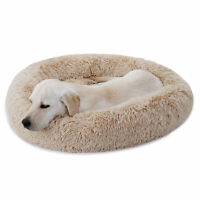 Diameter 30 Inch Shaggy Fluffy Pet Dog Bed Donut Cuddler Cushion Non-Slip Cozy