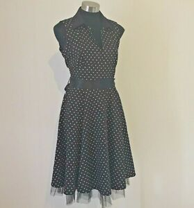 NEW! Hearts and Roses Black & White Spotted Rockabilly Collared Dress Size 18