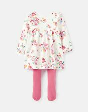 Joules Baby Girls Harleigh Dress And Tight Set  - White Ditsy
