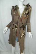 Moschino Cheap and Chic Sweater Cardigan Brown 3D Flowers and Fur Belted Size 6