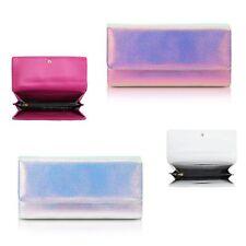 Ladies Metallic Hologram Purse Zip Around Wallet Clutch Bag Handbag GPA222A