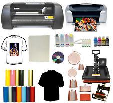8in1 Combo Heat Press14 Metal Vinyl Plotter Cutter Printer Ciss Pu Start Up Pk