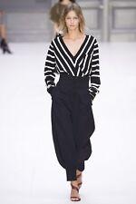Chloe Sailor stripe v neck sweater in black and white xs