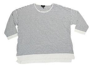 DKNY Striped Print 3/4 Sleeve Women's Crew Neck Sweater Top XL NWT Ivory/Navy