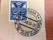 Postal History Judaica Hebrew Postmark on Czechoslovakian Stamp Prague 1930