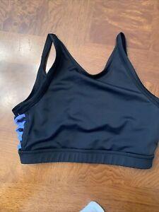 Girls Balera Side Looped Black/Blue Crop Top-Size Medium (10-12)