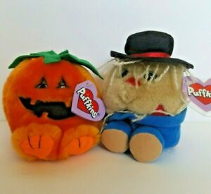 Lot of 2 Puffkins Halloween Plush Animals Gourdy Pumpkin and Patches Scarecrow