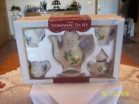 Stoneware Tea Set The Spirit Of Christmas Is Love 7 Piece Set Christmas Holly