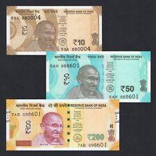 SET 2017 2018 INDIA 10 50 200 RUPEES P-NEW UNC