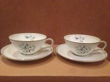 Meito China Set of 2 cups & 2 saucers turquoise flowers gray bands platinum rim