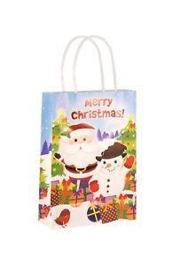 Christmas Party Bags x 6  Stocking Filler Loot Bags - Santa & Snowman - Xmas