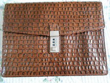 NEW -FINE QUALITY-DA MILANO ITALIAN CROC LEATHER DOCUMENT BRIEFCASE HANDBAG
