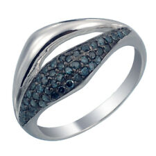 Sterling Silver Blue Diamond Ring (3/8 CT) In Size 7