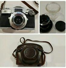 Vintage Zeiss Ikon Contaflex Synchro-Compur 50mm Camera Original Case Extra Lens