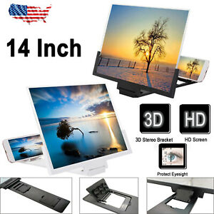 """14"""" Smartphone Screen Magnifier 3D Video Mobile Phone Amplifier Stand Bracket US"""
