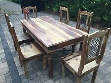 natural wood farm house style dining table with 6 chairs