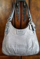 COACH 18766 ~ MADISON Maggie ~ Silver Gray LEATHER Purse, Hobo, SHOULDER BAG