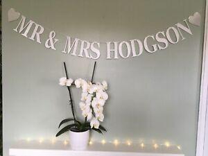 Personalised Mr & Mrs wedding bunting, decoration, wedding reception banner