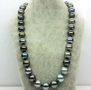 14mm Genuine Multicolor South Sea Shell Pearl Round Beads Necklace 18'' PN1602