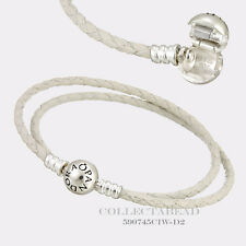 """Pandora Sterling Silver Ivory White Braided Leather 13.8"""" Bracelet 590745CIW-D1"""