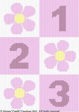 DAISY FLOWERS 1-2-3 Color Graph Crochet Pattern *EASY*