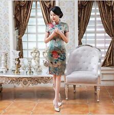 new chinese style women's Evening silk/satin mini Dress Ball Cheongsam S- XXL