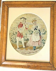 1880s Antique Berlin Woolwork Needlepoint Couple Petitpoint Birdseye Maple Frame