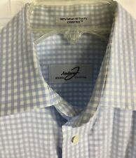 Andrew Fezza Business Collection Men's Blue White Checked Dress Shirt Size L