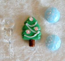 Christmas Tree Lampwork Bead 2 Snowflake 1 Clear Icicle Snow Bead Total 4 beads