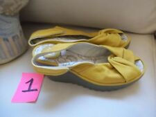 FLY LONDON YATA YELLOW SLINGBACK WEDGE SANDALS SZ 36 5.5 6 LEATHER & RUBBER