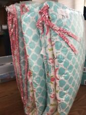 Mila 4Piece Coral and Blue Floral and Ogee Crib Bumper by Peanut Shell Ships N24