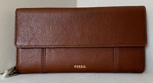 New Fossil Jori Flap Clutch RFID Leather wallet with Dust bag Medium Brown