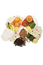 Set of 6 Reusable Produce Bags Cotton Washable Cloth Bag Drawstring Organic