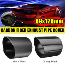 89mm Outlet Universal Carbon Fiber Car Exhaust Muffler Tip Pipe Cover 120mm Auto