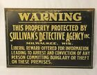 Vintage Rare Detective Agency Sign Milwaukee WI