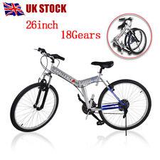 "26"" Wheel Folding Foldable Steel Mountain Bicycle Bike Front Suspension UK"