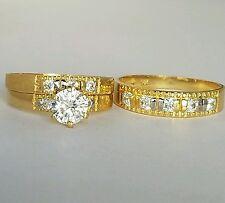 1.50 Carat 14K Yellow Gold 3  piece trio Engagement Wedding Band Ring Set s 7 10