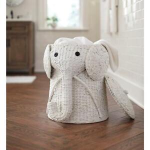 Elephant Hamper Wicker Laundry Basket Clothes Bin Woven Decor Baby Nursery White