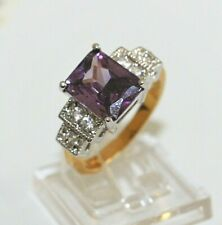 Brillant Amethyst Lila violett DamenRing Bi-Color Silber Gold 10K GP Gr 56 Ø17,8