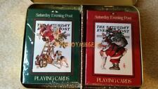 Vintage Standard Deck Playing Cards Rockwell Saturday Evening Post Santa Tin Set