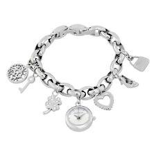 Anne Klein Silver Dial Silver Tone Charm Bracelet Ladies Watch 10-7605CHRM