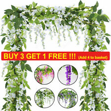 1/2X 7FT Artificial Wisteria Vine Garland Plant Foliage Flower in/outdoor Decor