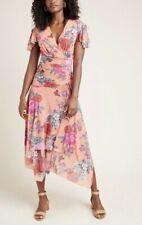 Anthropologie Dress Womens Size S Maeve Floral Print Pink Midi Maxi Simone NEW