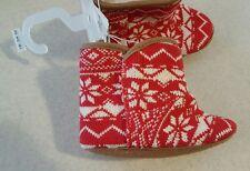 Old Navy Infant UNISEX Boys Girls Fairisle Crib Shoe Booties RED Boots   #321417