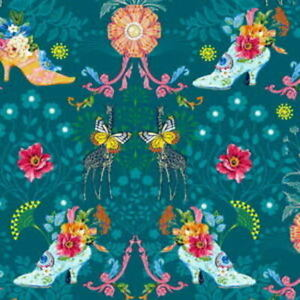 Free Spirit Odile Bailloeul Jardin de la Reine Royal Expedition Teal Fabric BTY