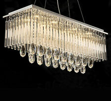 "L31.5"" x W9.8"" Modern Rectangle Rain Drop Crystal Chandelier Suspension Light"