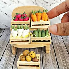 Miniature Dollhouse FAIRY GARDEN Accessories Wood Crate Mixed Vegetable Tiny Set