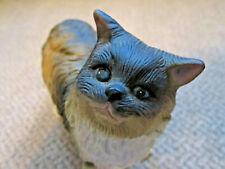 Vintage porcelain long hair cat figurine blue eyes brown body