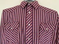 Wrangler Mens XL Red White Blue Plaid Long Sleeve Pearl Snap Front Western Shirt