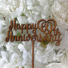 Anniversary Cake Topper. Happy Anniversary cake topper with Year. Acrylic / wood
